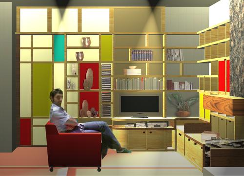parete divisoria soggiorno : Parete divisoria attrezzata