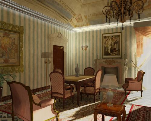 roberto pittaluga — render progetto soggiorno classico ...