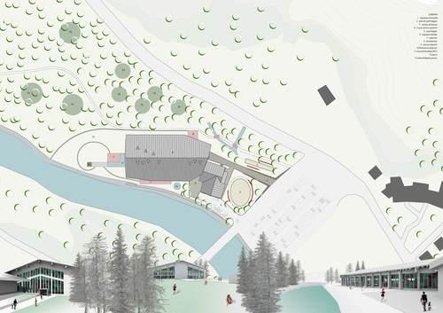 Digit & Associati — Riconversione palazzetto del ghiaccio in centro benessere e ricreativo. Ayas