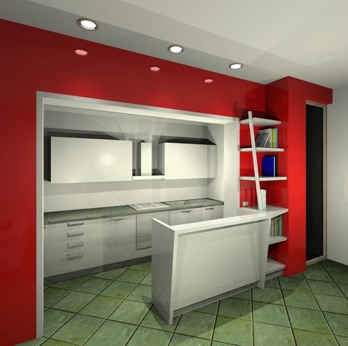 di appartamento su due livelli e disegno degli arredi (penisola cucina ...