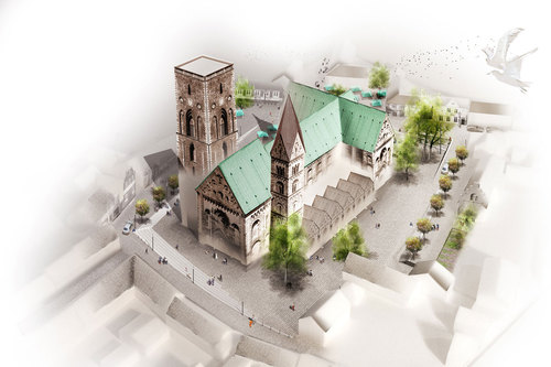 Schul Landskabsarkitekter, OKRA landschapsarchitecten — Ribe Cathedral Square