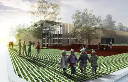SM-ARCH — Nuova Scuola dell'infanzia a Molino Nuovo, nuova sala multiuso e riqualifica degli spazi esterni per il quartiere