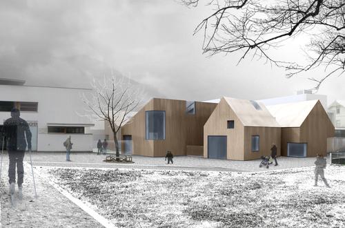 michele gambato architetto, mgark — Scuola materna e locale di prove musica a Sluderno