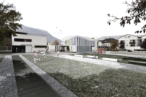 Boschi + Serboli Architetti Associati — Nuova costruzione scuola materna e sala prove musica Sluderno