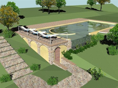 Stefano longetti progetto per piscina con idromassaggio for Piscina con cascata