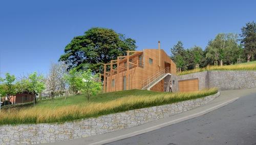 Gianluca cosmacini casa in collina divisare by for Piani di casa contemporanea in collina