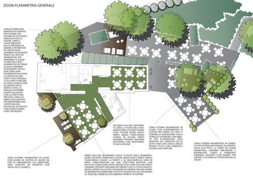 B scape architettura del paesaggio ristorante con for Planimetria giardino