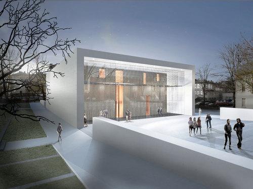 Paul Bretz Architecte, Ernst + Partner landschaftsarchitekten — Neubau Theaterlabor für das Institut der angewandten Theaterwissenschaften an der Uni Gießen
