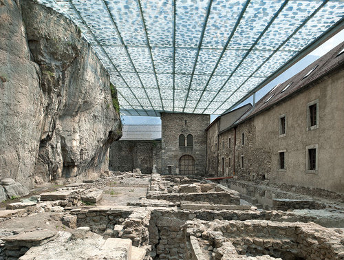 savioz fabrizzi architectes — Coverage of archaeological ruins of the Abbey of St-Maurice