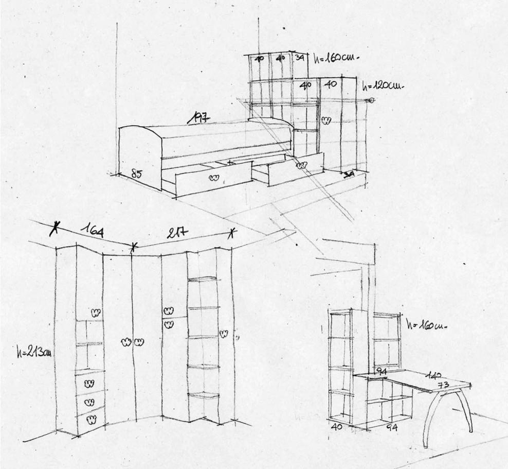 Paolo bardon progetto cameretta con cabina armadio su for Planimetrie della cabina di log