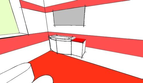 Paolo Bardon — Bagno e arredo bagno rosso e bianco - Divisare by Europaconcorsi
