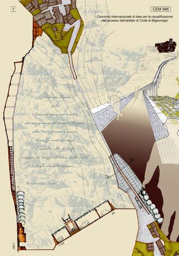 Marcello Cervini ( Studio Cervini ), arch.Letizia Molinari — Concorso internazionale di idee per la riqualificazione dell'accesso all'abitato di Civita di Bagnoregio