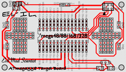ATmegaXX8 Breakout Board: top silkscreen and bottom copper