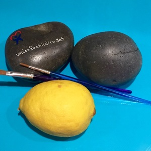 Rock painting lemons