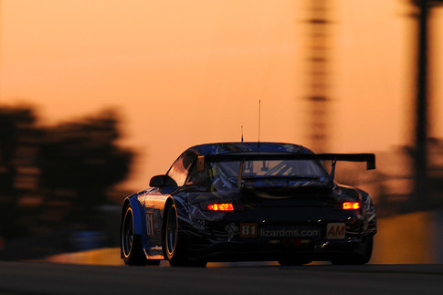 Sunrise at the Dunlop Bridge. 30 minutes later, Darren would turn the car over to Spencer Pumpelly. He wouldn't get another chance to drive. Photo by Bob Chapman/AutosportImage.com