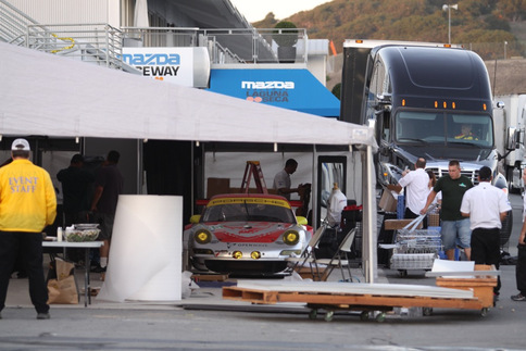 Flying Lizard Motorsports packing up. Photo by Damon Lowney
