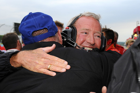 Hurley Haywood celebrated after Brumos Racing&#39;s victory at the 2011 Six Hours of The Glen.