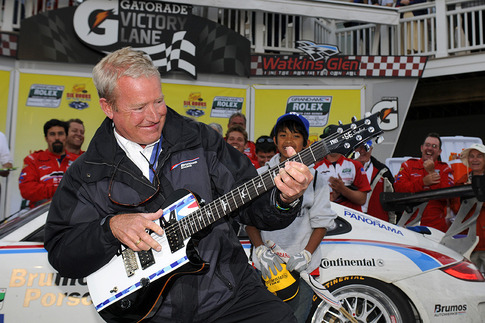 The Grand-Am winner&#39;s &quot;trophy&quot; was strummed by Hurley Haywood on the podium.