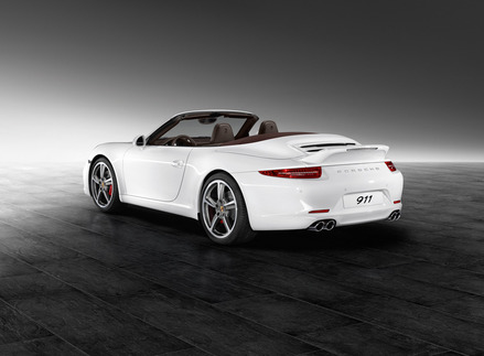 A 991S Cabriolet with the ducktail spoiler — no Aerokit Cup spoiler. Photo courtesy Porsche