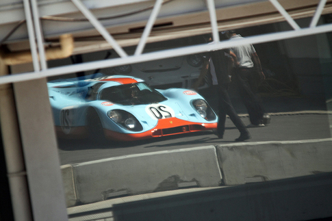 Both new and old cars are driven at Porsche Speed Day. Here is a Gulf-liveried 917. Photo by Frissen Gutierrez