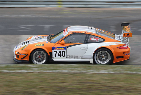 The GT3 R Hybrid at the 2010 Nüburgring 24 hour race. Photo courtesy Porsche.