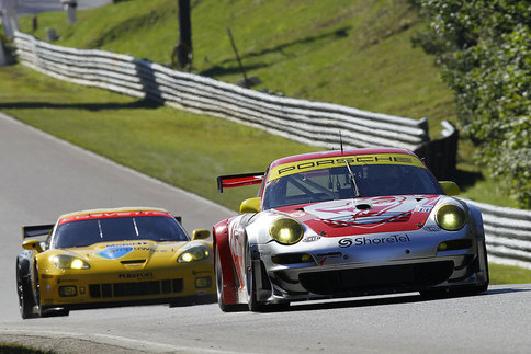 Patrick Long/Joerg Bergmeister Flying Lizard Porsche 911 GT3 RSR. Photo courtesy PCNA