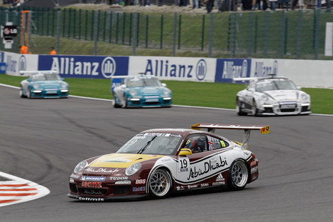 Sean Edwards leads the Team Abu Dhabi by tolimit to victory at Spa-Francorchamps, 11 seconds ahead of his nearest competitor. Photo courtesy Porsche