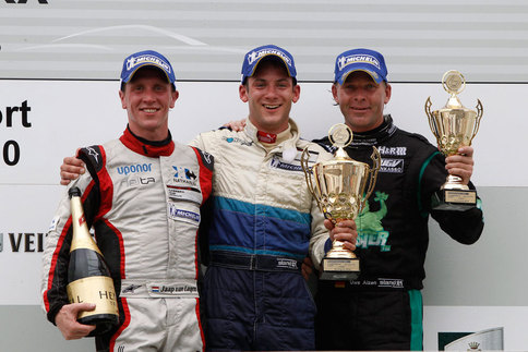 From left to right: Jaap van Lagen, Nick Tandy, Uwe Alzen on the podium after the Porsche Carrera Cup Deutschland race at Zandvoort. Photo courtesy Porsche
