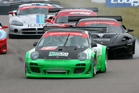David Ashburn drove the Trackspeed GT3 R to victory after starting the race in tenth. This photo was taken at Rockingham Speedway. Photo courtesy Porsche