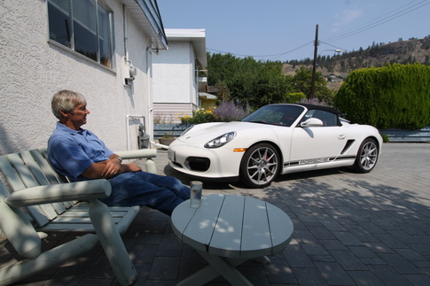 Kees Nierop contemplates how to keep the borrowed Spyder in his driveway for a bit longer. Photo by Pete Stout