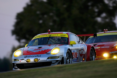 The #45 GT3 RSR of Flying Lizard Motorsports won its third consecutive drivers' championship at the end of the 2010 ALMS season. Photo by Bob Chapman