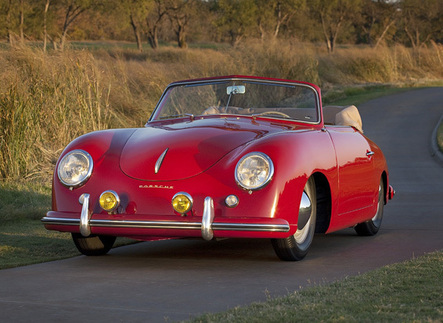 Dr. Robert Wilson owns this 1952 Strawberry Red 356 Cabriolet, the oldest known surviving Porsche originally sold in North America. Photo courtesy Porsche