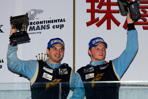 Richard Lietz (left) and Marc Lieb finish second in class and win the GT2 team championship in their Felbermayr Proton GT3 RSR. Photo by Bob Chapman/AutosportImage.com