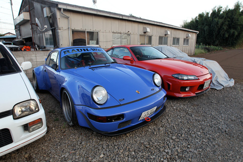 Porsche, meet Silvia. Akira Nakai&#39;s Porsche designs are inspired by the drift scene, more commonly populated by cars such as this red Nissan Silvia. Photo by Dino Dalle Carbonare