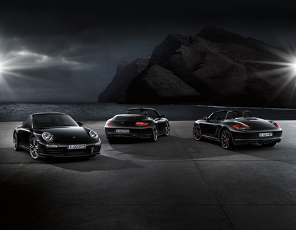 From left to right: 911 Black Edition coupe, 911 Black Edition Cabriolet, and Boxster S Black Edition. Photo courtesy Porsche