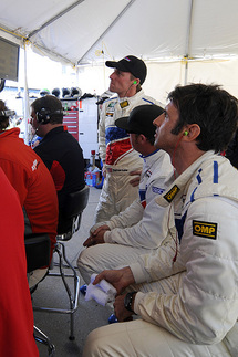Drivers from background to foreground: Darren Law, Buddy Rice, Christian Fittipaldi. Photo by Bob Chapman/AutosportImage.com