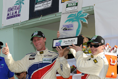 Grand-Am: Darren Law (left) and David Donohue took second place overall at the Grand Prix of Miami. Photo by Bob Chapman/AutosportImage.com