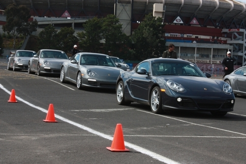"The Porsche World Roadshow--USA set up a small ""track"" and autocross course in the parking lot of San Francisco's Candlestick Park. Photo by Damon Lowney"