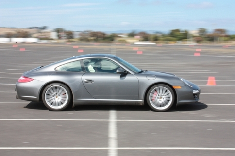 A Carrera 4S makes its way onto the provisional track. Photo by Damon Lowney