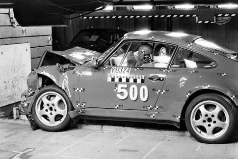 A 964-based 911 undergoes crash testing.