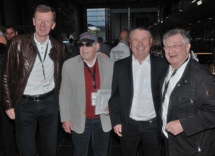 From left: Rally hero Walter Röhrl, mechanic/racer Herbert Linge, mechanic/engineer and now historic collection manager Klaus Bischof, and racer Hans Herrmann. Photo by Randy Leffingwell