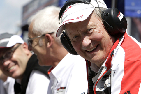 Dr. Wolfgang Porsche in the pits near the end of the race. Photo courtesy Porsche