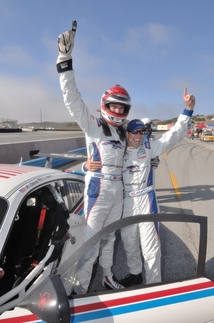 Brumos co-drivers Leh Keen, left, and Andrew Davis share in the GT class victory. Photo by Randy Leffingwell
