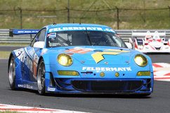 Porsche factory drivers Richard Lietz and Marc Lieb took first place at the Hungaroring Circuit, their third victory in the Le Mans Series this season. Photo courtesy Porsche
