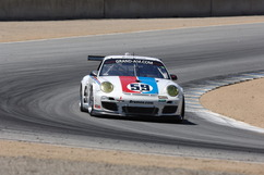 At speed through Mazda Raceway Laguna Seca turn 5 during afternoon practice, Saturday, 8 July, 2011. Photo by Randy Leffingwell