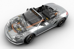 Cutaway of the all-wheel drive Boxster E prototype. Photo courtesy Porsche