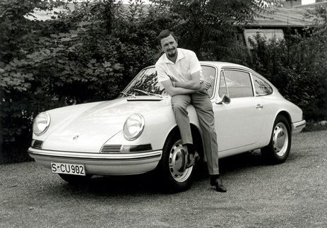 F.A. Porsche posing with a 901 in 1963, which would later be known as the 911.