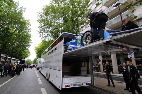 Felbermayr Proton RSR is unloaded in downtown Le Mans.