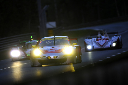 Flying Lizard Motorsports' #79 2011-spec RSR finished fourth in GTE-Am.