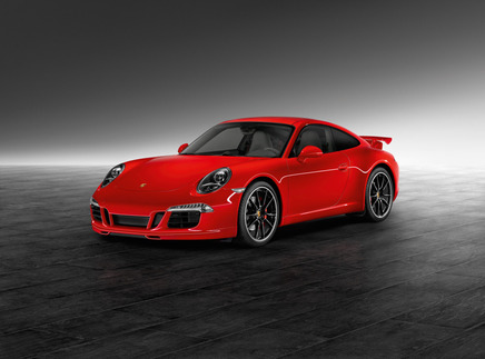 A 991 with the Sport Design package, which includes a fixed ducktail spoiler, and the Aerokit Cup. Note the two small, extra intake openings on the front fascia. Photo courtesy Porsche